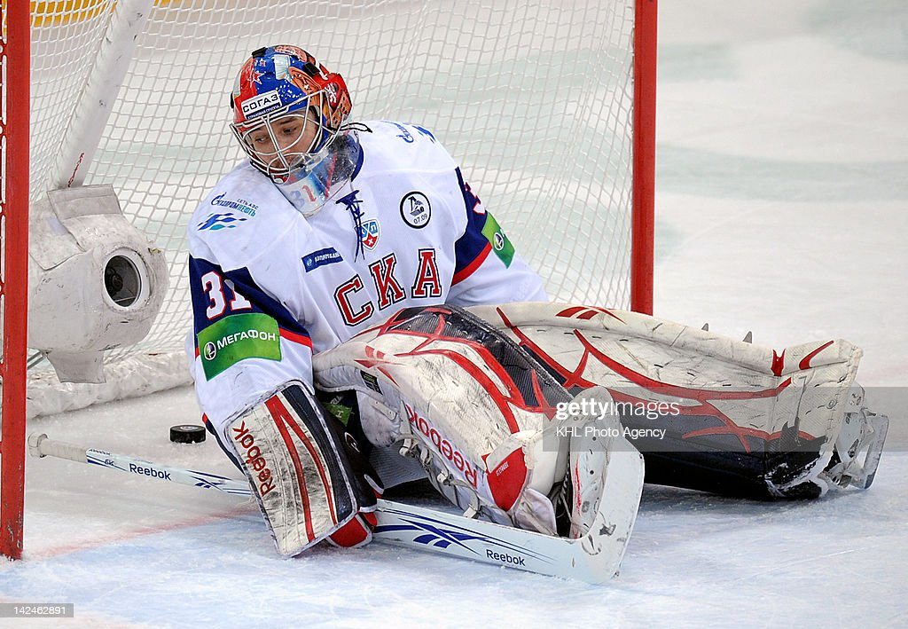 Goalkeeper Jakub Stepanek #31 of the SKA fails to stop a shot during the playoff game between SKA St. Petersbourg and Dinamo Moscow during the KHL Championship 2011/2012 on April 3, 2012 at the Arena Luzhniki in Moscow, Russia. The Dinamo won 6-1.
