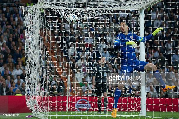 Goalkeeper Jan Oblak of Atletico de Madrid clears the ball during the UEFA Champions League quarterfinal second leg match between Real Madrid CF and...