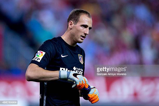 Goalkeeper Jan Oblak of Atletico de Madrid close a water bottle during the La Liga match between Club Atletico de Madrid and FC Barcelona at Vicente...