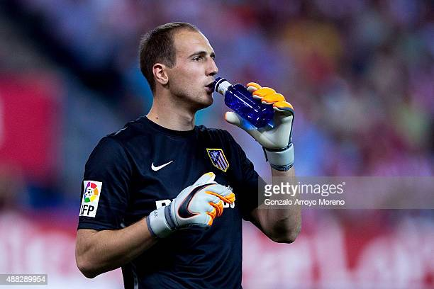 Goalkeeper Jan Oblak of Atletico de Madrid drinks water during the La Liga match between Club Atletico de Madrid and FC Barcelona at Vicente Calderon...