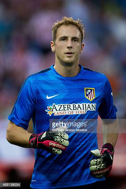 Goalkeeper Jan Oblak of Atletico de Madrid in action during his warming up prior to start the La Liga match between Club Atletico de Madrid and SD...
