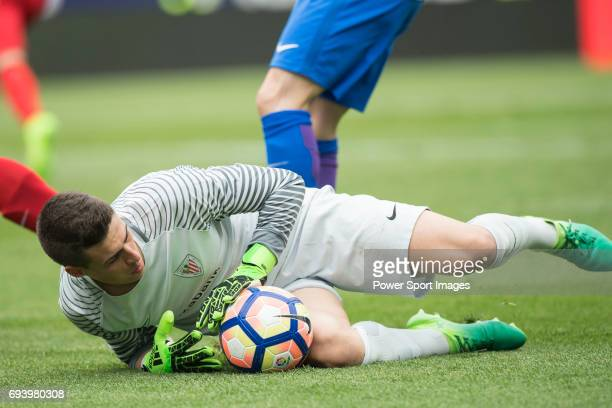Goalkeeper Jan Oblak of Atletico de Madrid in action during the La Liga match between Atletico de Madrid and Athletic de Bilbao at the Estadio...
