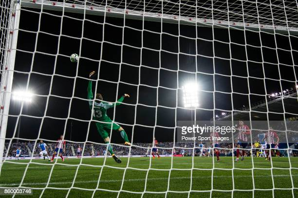 Goalkeeper Jan Oblak of Atletico de Madrid reaches for the ball after an attempt at goal by CD Leganes during the La Liga 201718 match between CD...