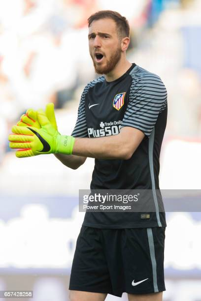 Goalkeeper Jan Oblak of Atletico de Madrid reacts during their La Liga match between Atletico de Madrid and Sevilla FC at the Estadio Vicente...