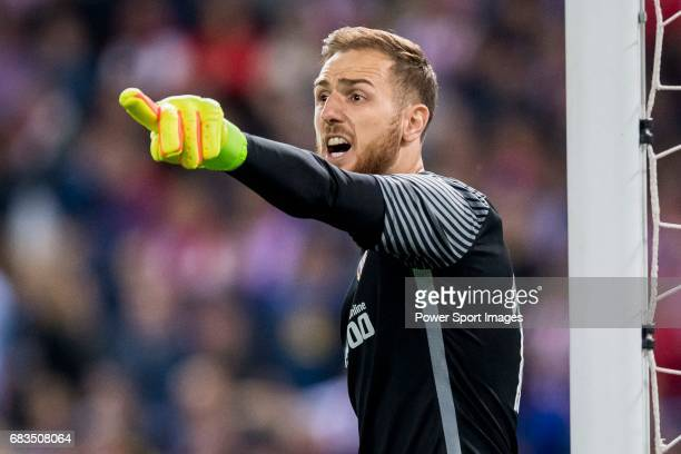 Goalkeeper Jan Oblak of Atletico de Madrid reacts during their La Liga match between Atletico de Madrid vs Real Sociedad at the Vicente Calderon...