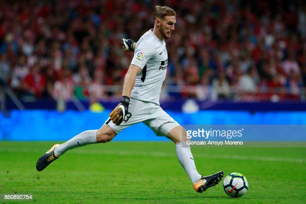 Goalkeeper Jan Oblak of Atletico de Madrid strikes the ball during the La Liga match between Club Atletico Madrid and Malaga CF at Estadio Wanda...