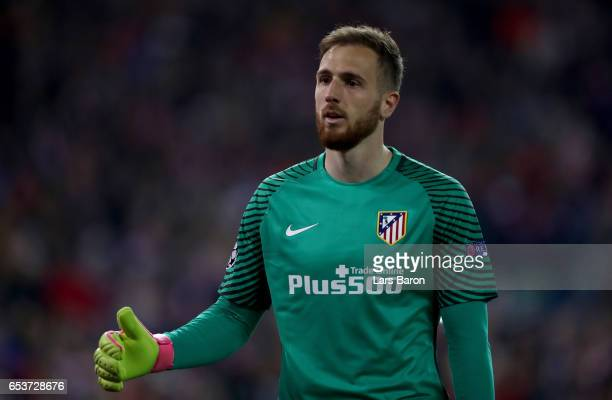 Goalkeeper Jan Oblak of Atletico is seen during the UEFA Champions League Round of 16 second leg match between Club Atletico de Madrid and Bayer...