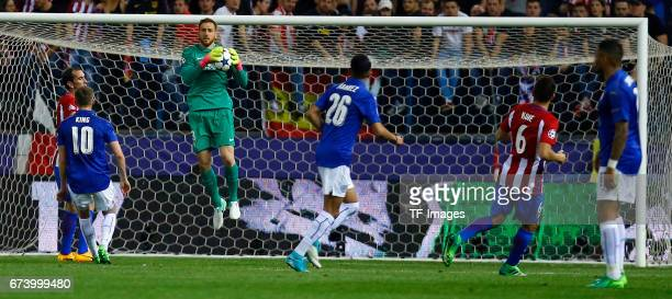 Goalkeeper Jan Oblak of Atletico Madrid in action during the UEFA Champions League Quarter Final first leg match between Club Atletico de Madrid and...
