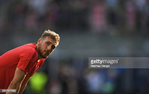 Goalkeeper Jan Oblak of Atletico Madrid looks on during an Atletico de Madrid training session on the eve of the UEFA Champions League Final against...