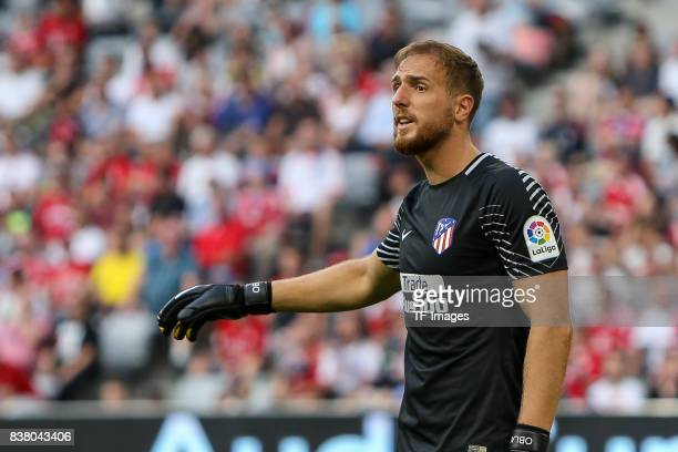 Goalkeeper Jan Oblak of Atletico Madrid looks on during the first Audi Cup football match between Atletico Madrid and SSC Napoli in the stadium in...