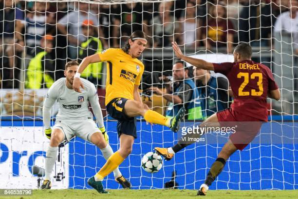 goalkeeper Jan Oblak of Club Atletico de Madrid Filipe Luis of Club Atletico de Madrid Gregoire Defrel of AS Roma during the UEFA Champions League...