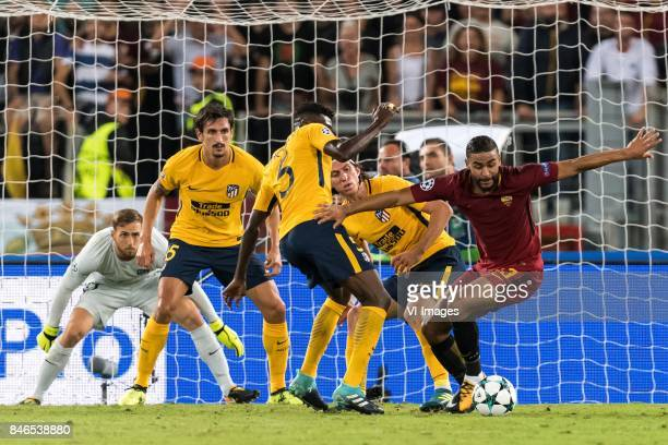 goalkeeper Jan Oblak of Club Atletico de Madrid Stefan Savic of Club Atletico de Madrid Thomas Partey of Club Atletico de Madrid Filipe Luis of Club...