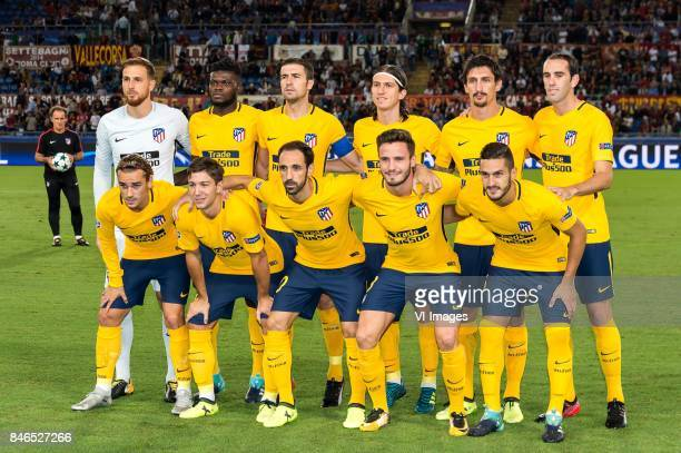 goalkeeper Jan Oblak of Club Atletico de Madrid Thomas Partey of Club Atletico de Madrid Gabi of Club Atletico de Madrid Filipe Luis of Club Atletico...