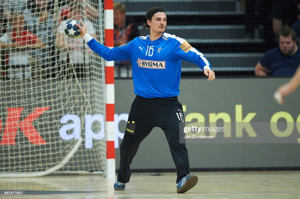 Goalkeeper Jannick Green of Denmark in action during the European Championship Croatia 2018 Playoff match between Denmark and Latvia at Sydbank Arena on June 18, 2017 in Kolding, Denmark.