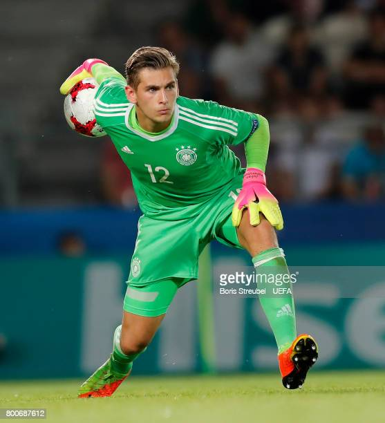 Goalkeeper Jannik Pollersbeck of Germany in action during the UEFA European Under21 Championship Group C match between Italy and Germany at Krakow...