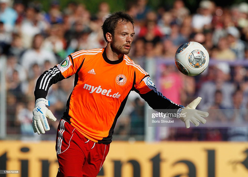 Goalkeeper Jannis Gabrielides of Neumuenster in action during the DFB Cup first round match between VfR Neumuenster and Hertha BSC Berlin at Gruemmi-Arena on August 4, 2013 in Neumuenster, Germany.