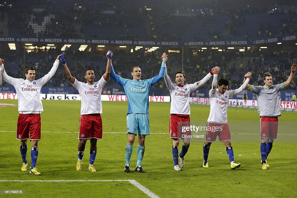 Goalkeeper <a gi-track='captionPersonalityLinkClicked' href=/galleries/search?phrase=Jaroslav+Drobny&family=editorial&specificpeople=1569062 ng-click='$event.stopPropagation()'>Jaroslav Drobny</a> and Hamburg team-mates celebrate at the close of the Bundesliga match between Hamburger SV and Borussia Moenchengladbach at Imtech Arena on February 16, 2013 in Hamburg, Germany.