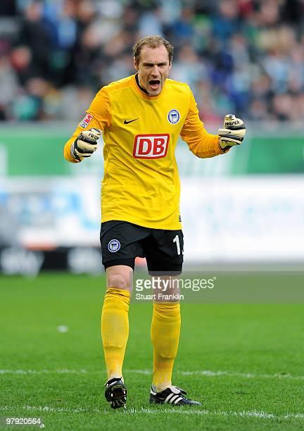 Goalkeeper Jaroslav Drobny of Berlin celebrates one of his team's goals during the Bundesliga match between VfL Wolfsburg and Hertha BSC Berlin at...