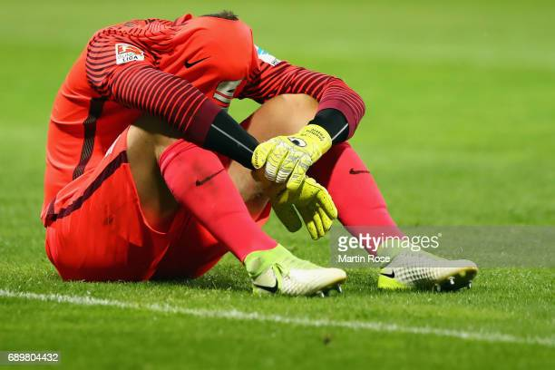Goalkeeper Jasmin Fejzic of Braunschweig reacts after the Bundesliga Playoff leg 2 match between Eintracht Braunschweig and VfL Wolfsburg at...