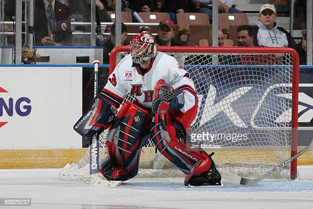 Goalkeeper Jason LaBarbera of the Canadian All Stars on the ice during the AHL AllStar Game at Verizon Wireless Arena Manchester New Hampshire...