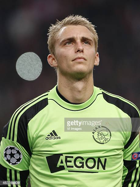 Goalkeeper Jasper Cillessen of Ajax during the Champions League match between Ajax Amsterdam and FC Barcelona on November 26 2013 at the Amsterdam...