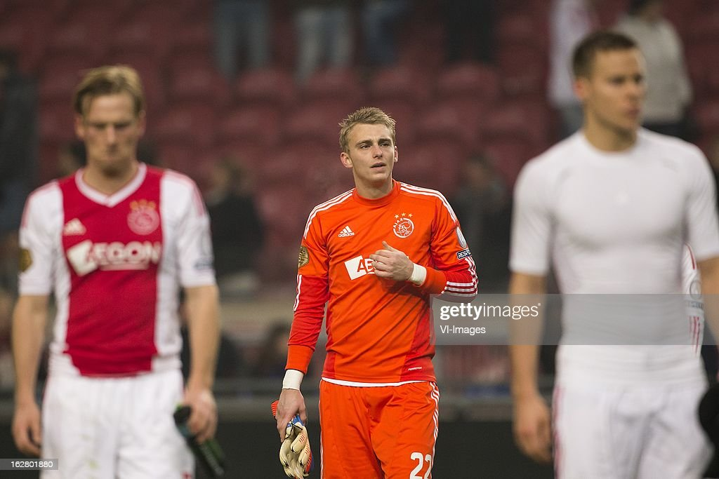 Goalkeeper Jasper Cillessen of Ajax during the Dutch Cup match between Ajax Amsterdam and AZ Alkmaar at the Amsterdam Arena on february 27, 2013 in Amsterdam, The Netherlands
