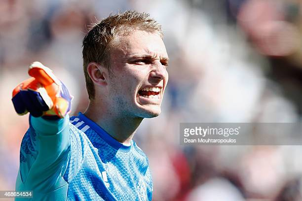 Goalkeeper Jasper Cillessen of Ajax gives team mates instructions during the Dutch Eredivisie match between FC Utrecht and Ajax Amsterdam held at...