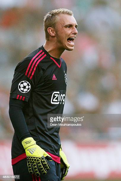 Goalkeeper Jasper Cillessen of Ajax in action during the third qualifying round 2nd leg UEFA Champions League match between Ajax Amsterdam and SK...