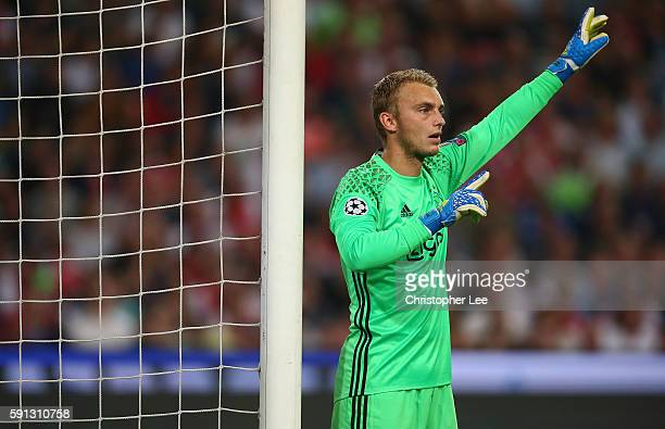 Goalkeeper Jasper Cillessen of Ajax in action during the UEFA Champions League Playoff 1st Leg match between Ajax and Rostov at Amsterdam Arena on...