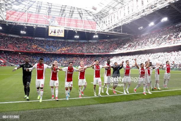 goalkeeper Jasper Cillessen of Ajax Mateo Cassierra of Ajax Vaclav Cerny of Ajax Abdelhak Nouri of Ajax Daley Sinkgraven of Ajax Hakim Ziyech of Ajax...