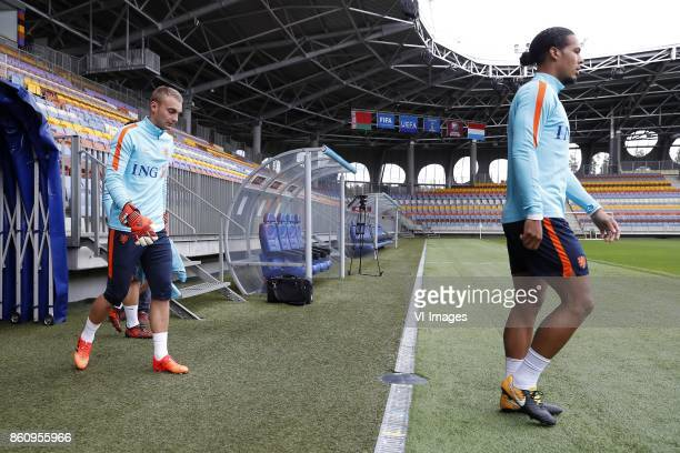 goalkeeper Jasper Cillessen of Holland Virgil van Dijk of Holland during a training session prior to the FIFA World Cup 2018 qualifying match between...