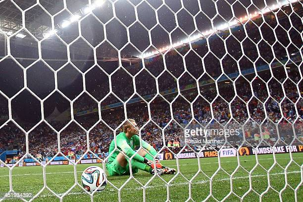 Goalkeeper Jasper Cillessen of the Netherlands reacts after being defeated by Argentina in a penalty shootout during the 2014 FIFA World Cup Brazil...