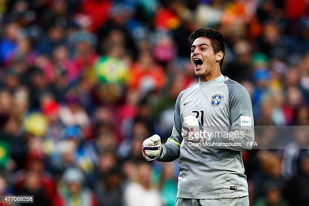Goalkeeper Jean of Brazil celebrates after a penalty in the shoot put the FIFA U20 World Cup New Zealand 2015 quarter final match between Brazil and...