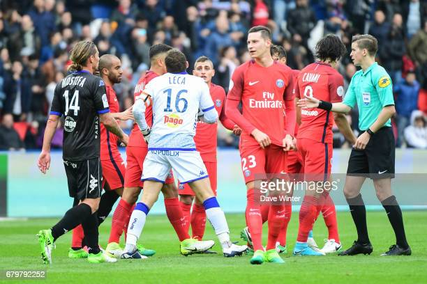 Goalkeeper JeanLouis Leca of Bastia complains that he was checking on an injured PSG player in the penalty box when Marco Verratti of PSG scored...