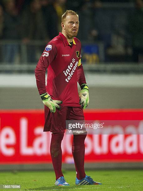 goalkeeper Jelle ten Rouwelaar of NAC Breda during the Dutch Eredivisie match between RKC Waalwijk and NAC Breda on November 01 2013 at the...