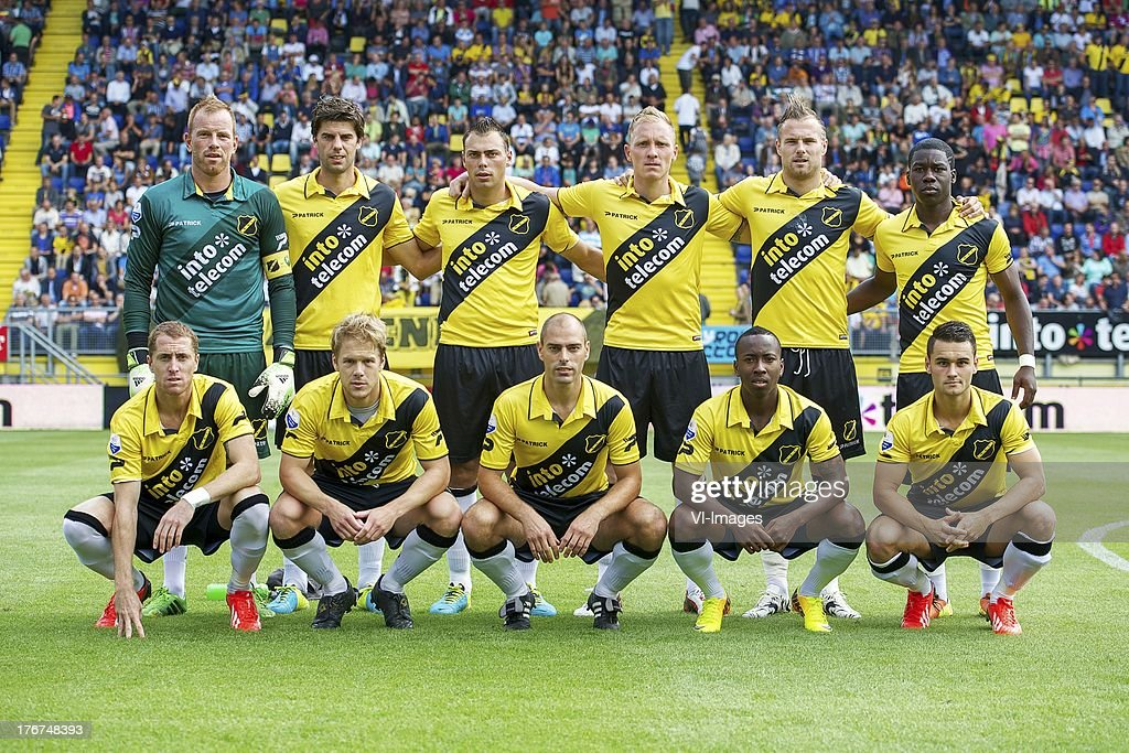 goalkeeper Jelle ten Rouwelaar of NAC Breda. Kees Kwakman of NAC Breda, Kenny van der Weg of NAC Breda, Henrico Drost of NAC Breda, Jordy Buijs of NAC Breda, Jeffrey Sarpong of NAC Breda Gilles Swerts of NAC Breda, Tim Gilissen of NAC Breda, Anthony Lurling of NAC Breda, Elson Hooi of NAC Breda, Alex Schalk of NAC Breda during the Dutch Eredivisie match between NAC Breda and ADO Den Haag on August 18, 2013 at the Rat Verlegh stadium in Breda, The Netherlands.
