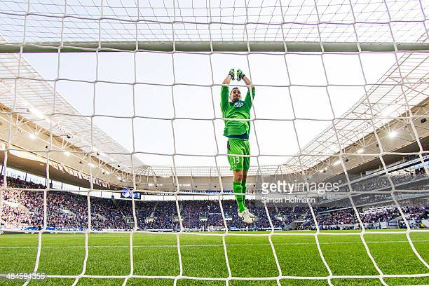 Goalkeeper Jens Grahl of Hoffenheim celebrates his team's second goal during the Bundesliga match between 1899 Hoffenheim and FC Augsburg at Wirsol...