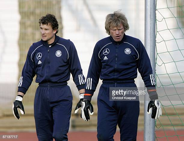 Goalkeeper Jens Lehmann and goalkeeper Jens Lehmann are thoughtful during the training session of the German National Team on March 20 2006 in...