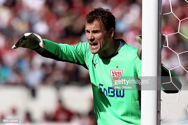 Goalkeeper Jens Lehmann of Stuttgart gestures during the Bundesliga match between VfB Stuttgart and Bayer Leverkusen at the MercedesBenz Arena on...