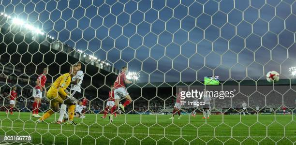 Goalkeeper Jeppe Hojbjerg of Denmark Davie Selke of Germany looks on during the UEFA European Under21 Championship Group C match between Germany and...