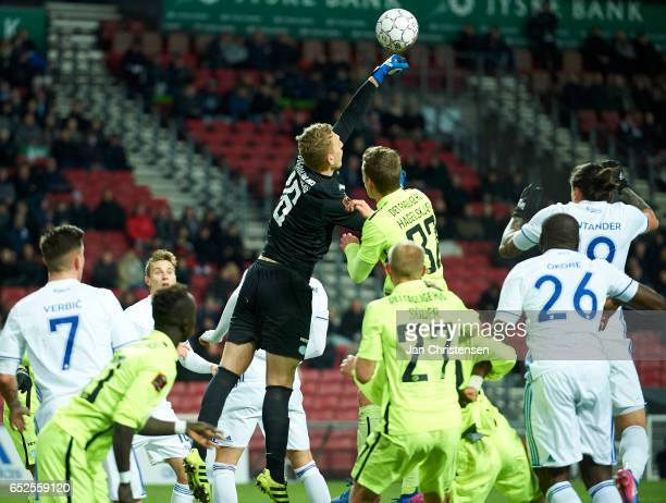 Goalkeeper Jeppe Hojbjerg of Esbjerg fB in action during the Danish Alka Superliga match between FC Copenhagen and Esbjerg fB at Telia Parken Stadium...