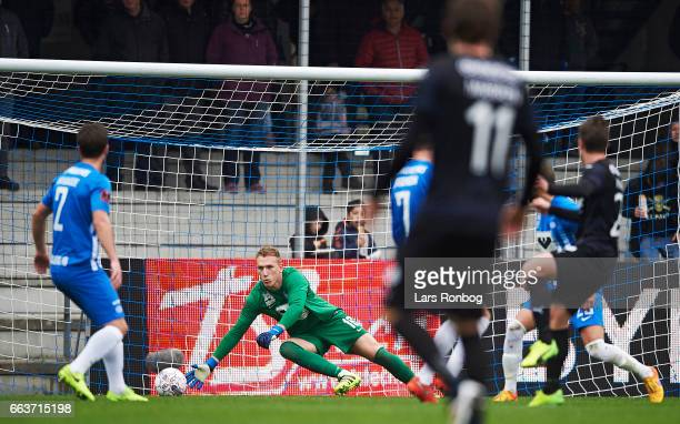 Goalkeeper Jeppe Hojbjerg of Esbjerg fB in action during the Danish Alka Superliga match between Esbjerg fB and Randers FC at Blue Water Arena on...