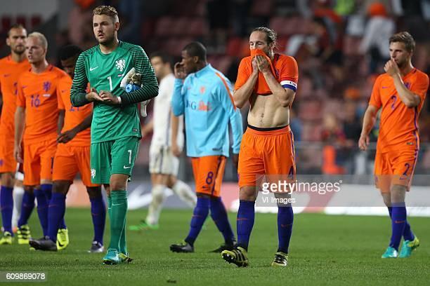 goalkeeper Jeroen Zoet of Holland Daley Blind of Holland Joel Veltman of Holland during the friendly match between Netherlands and Greece on...