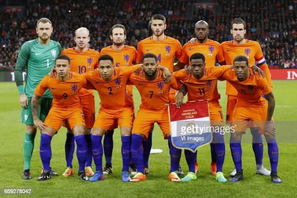goalkeeper Jeroen Zoet of Holland Davy Klaassen of Holland Daley Blind of Holland Wesley Hoedt of Holland Bruno Martins Indi of Holland Kevin...