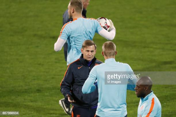 goalkeeper Jeroen Zoet of Holland goalkeeper trainer Frans Hoek of Holland goalkeeper Jasper Cillessen of Hollandduring a training session prior to...