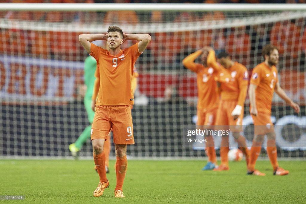 goalkeeper Jeroen Zoet of Holland KlaasJan Huntelaar of Holland Georginio Wijnaldum of Holland Kenny Tete of Holland Daley Blind of Holland during...