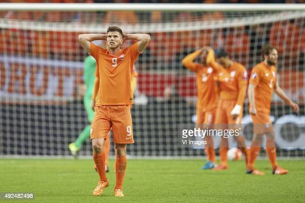 goalkeeper Jeroen Zoet of Holland KlaasJan Huntelaar of Holland Georginio Wijnaldum of Holland Kenny Tete of Holland Daley Blind of Holland during...