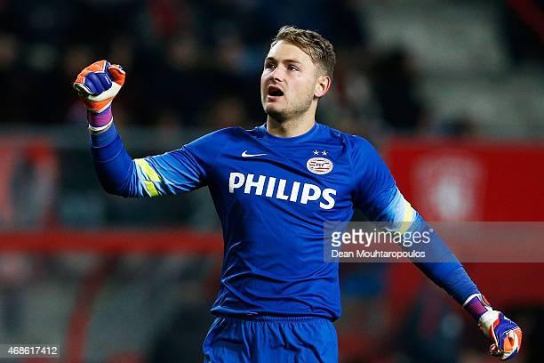 Goalkeeper Jeroen Zoet of PSV celebrates the goal scored by team mate Luuk de Jong during the Dutch Eredivisie match between FC Twente and PSV...