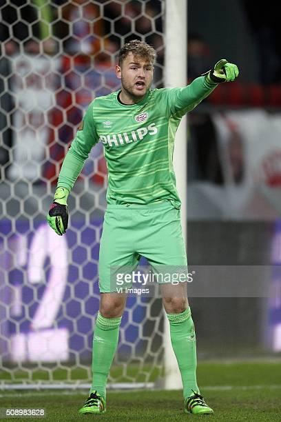 Goalkeeper Jeroen Zoet of PSV during the Dutch Eredivisie match between FC Utrecht and PSV Eindhoven at the Galgenwaard Stadium on February 07 2016...