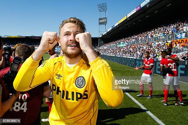 goalkeeper Jeroen Zoet of PSV during the Dutch Eredivisie match between PEC Zwolle and PSV Eindhoven at the IJsseldelta stadium on May 08 2016 in...